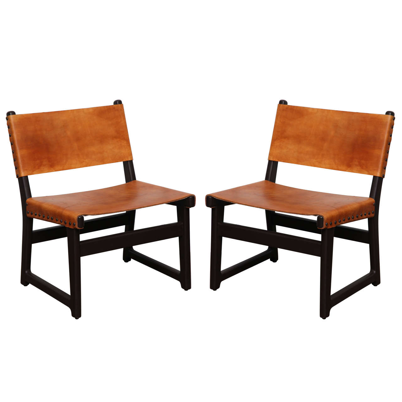Pair Of Leather Sling Chairs At 1stdibs