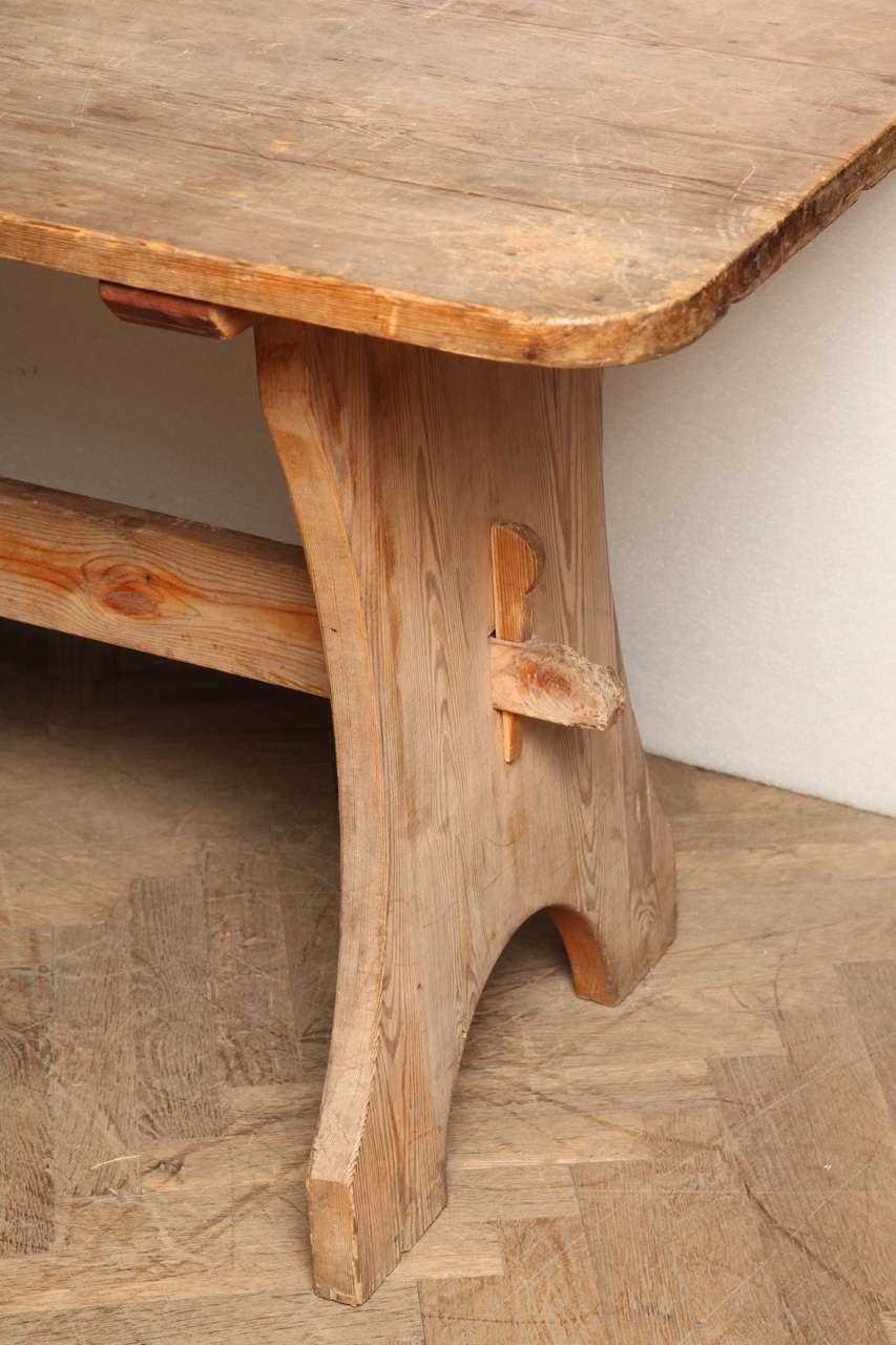 British Pine Trestle End Table For Sale
