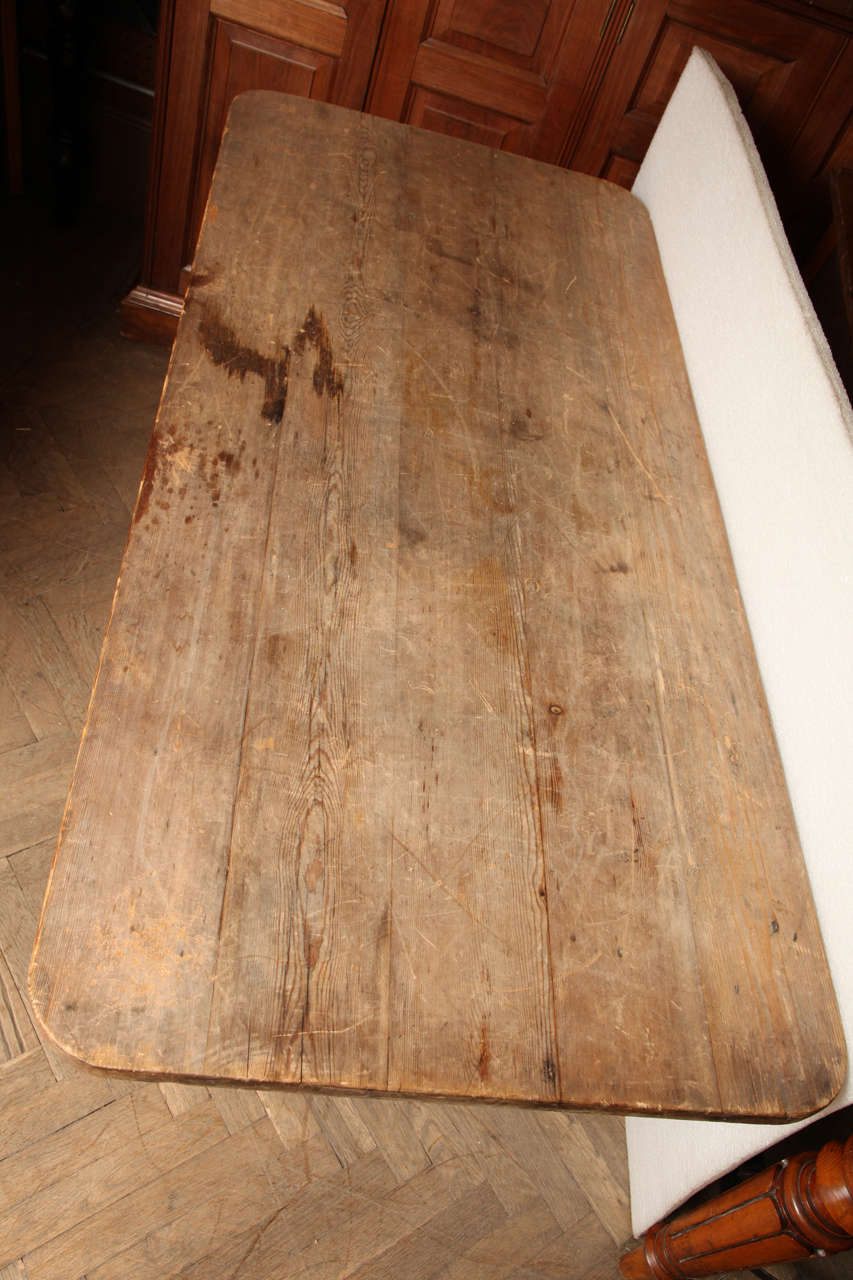 19th Century Pine Trestle End Table For Sale