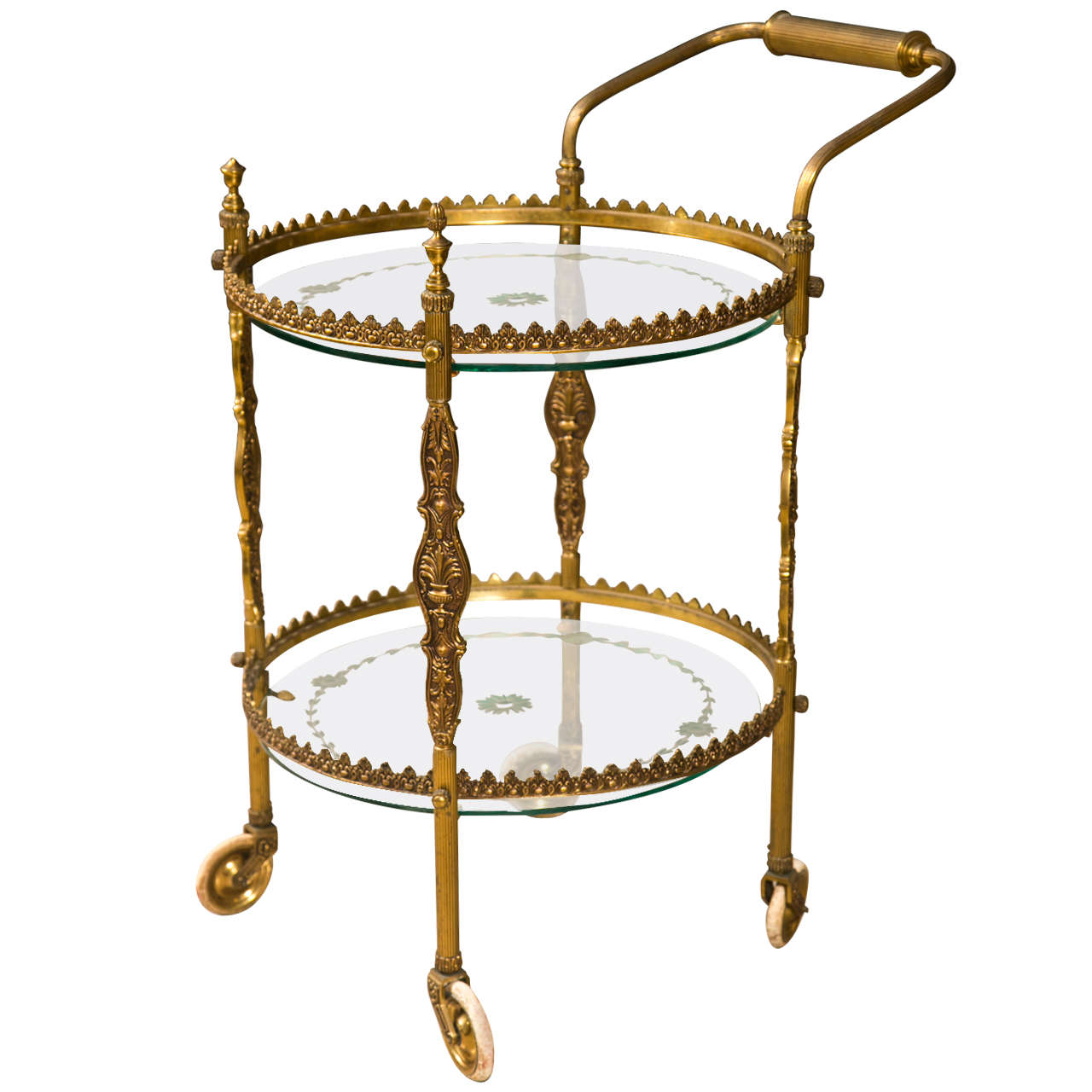French Art Deco Style Gilt Bronze Bar Cart At 1stdibs