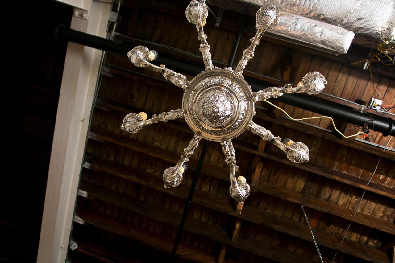 Shop Good Earth Lighting Metropolitan 3 Light Bronze: Fine 19th Century Bronze Silver Plated Chandelier At 1stdibs