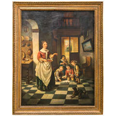 Oil Painting of a Women and Young Children Genre Scene