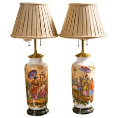Pair of 19th Century French Chinoiserie Style Porcelain Lamps