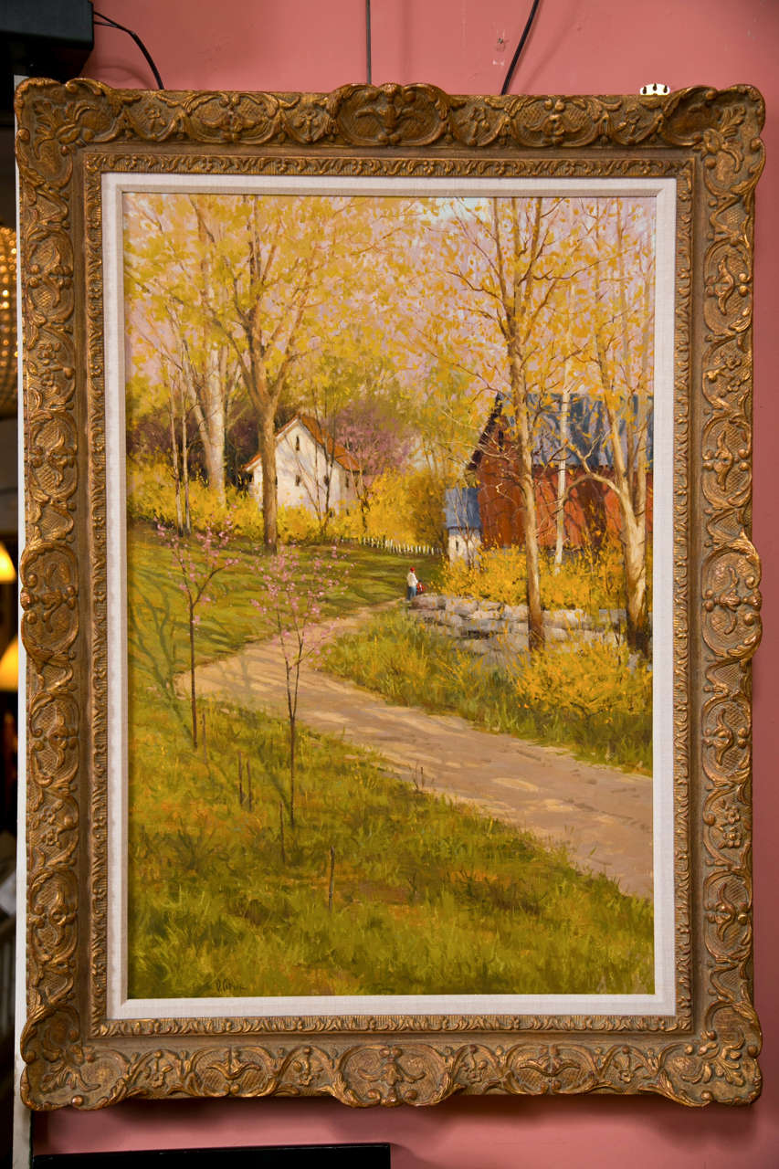 Signed American Oil on Canvas of a Countryside Scene By Deborah Cotrone For Sale 3