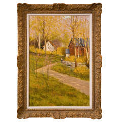 Signed American Oil on Canvas of a Countryside Scene By Deborah Cotrone