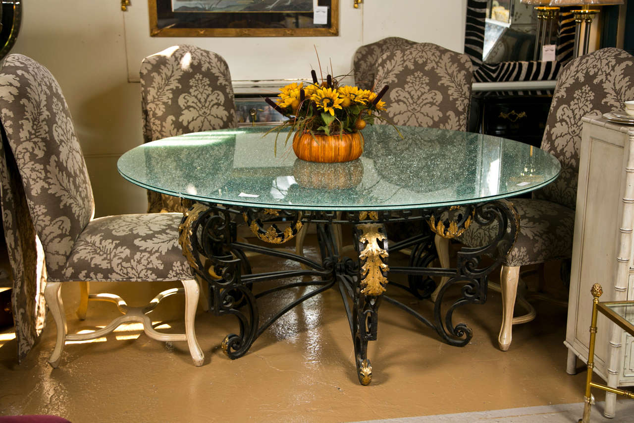 Art Nouveau Style Crackle Glass Round Dining Table At 1stdibs