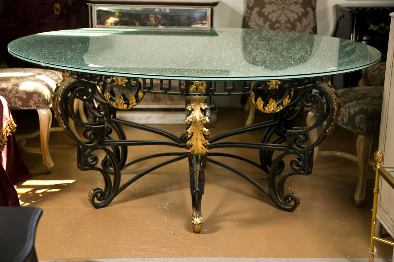 Art Nouveau Style Crackle Glass Round Dining Table at 1stdibs : B from 1stdibs.com size 1280 x 853 jpeg 128kB