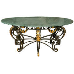 Art Nouveau Style Crackle Glass Round Dining Table