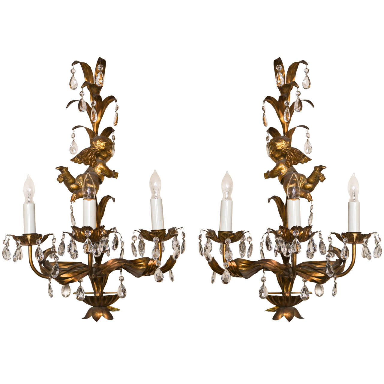 French Brass Wall Sconces : French Gilt-Brass Three-Light Wall Sconces For Sale at 1stdibs