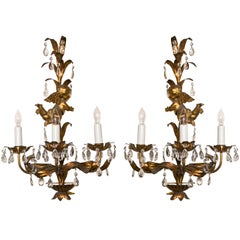 French Marie Therese Style Gilt-Brass Three-Light Wall Sconces Cherub Figures
