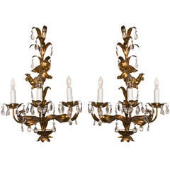 French Gilt-Brass Three-Light Wall Sconces