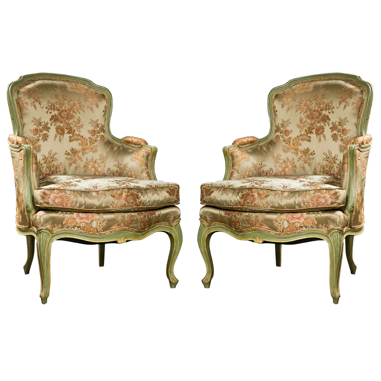 Merveilleux Pair Of French Louis XVI Style Bergere Chairs For Sale