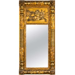 French Empire Style Giltwood Mirror Elaborately Carved Frame Circa 19th Century