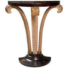Mahogany Plume Base Demilune Console Table