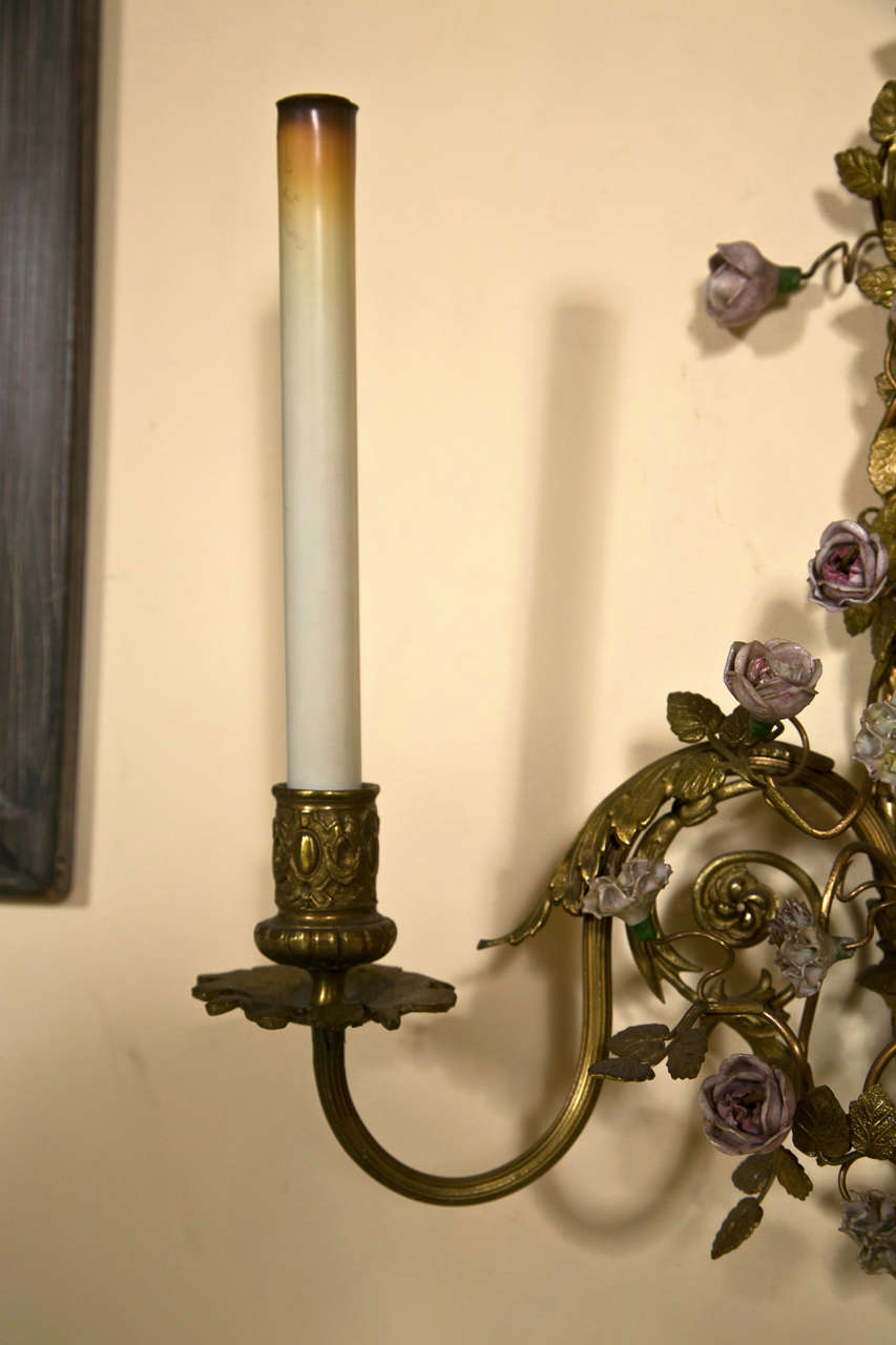 French Belle Époque Style Brass Wall Sconces Florette And Foliate ...