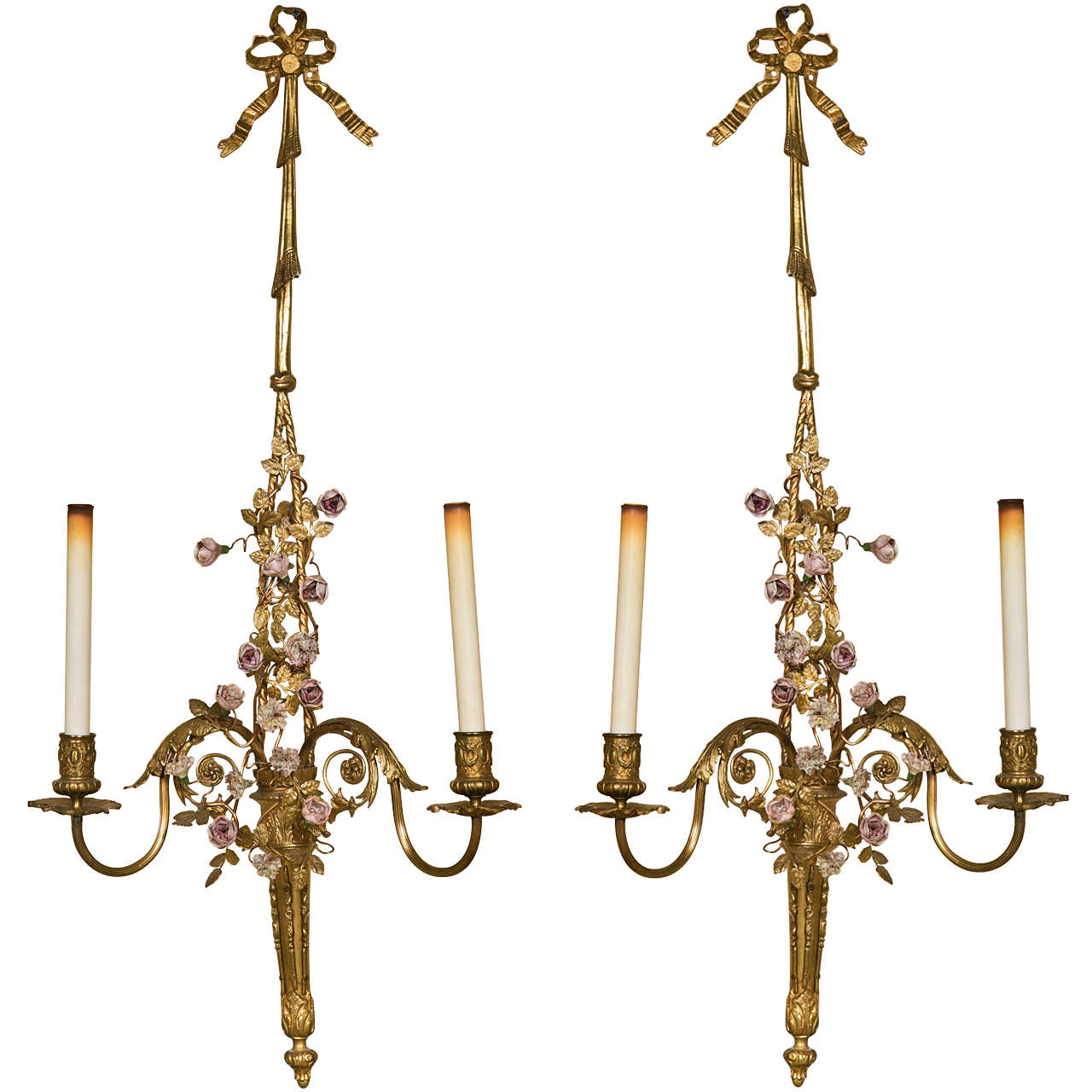 French Brass Wall Sconces : French Belle Epoque Style Brass Wall Sconces