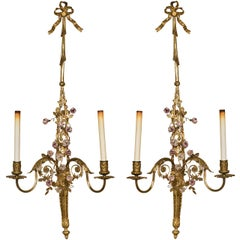 French Belle Époque Style Brass Wall Sconces Florette And Foliate Two Arms Each
