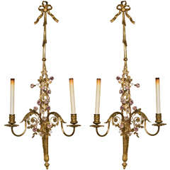 French Belle Époque Style Brass Wall Sconces