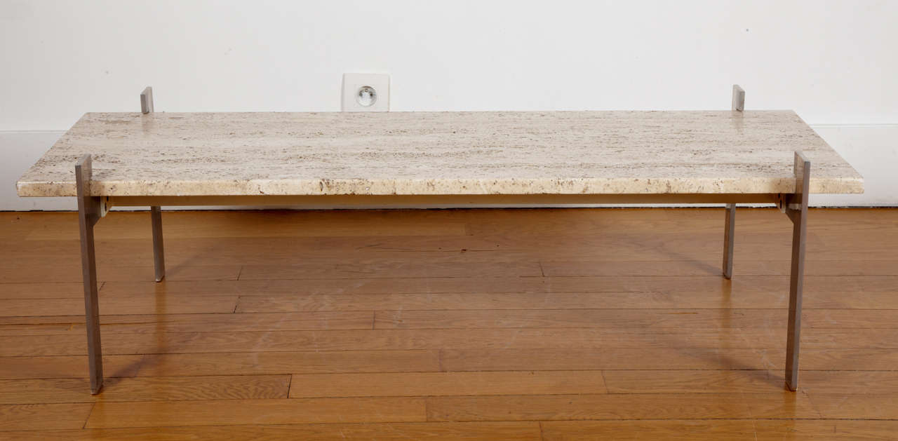 Rectangular Coffee Table With Travertine Top France 1960 At 1stdibs