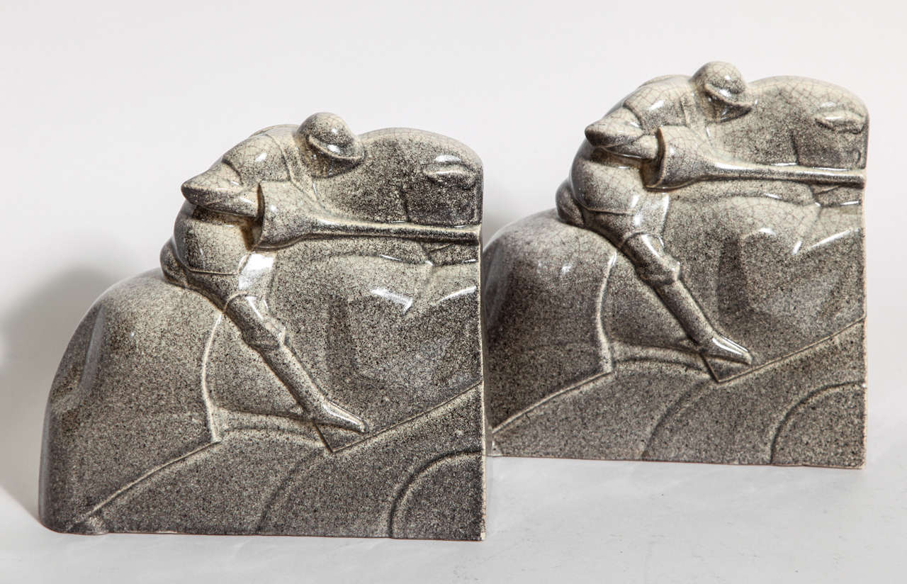 Marcel Guillard French Art Deco Tournoi Ceramic Bookends In Excellent Condition For Sale In New York, NY