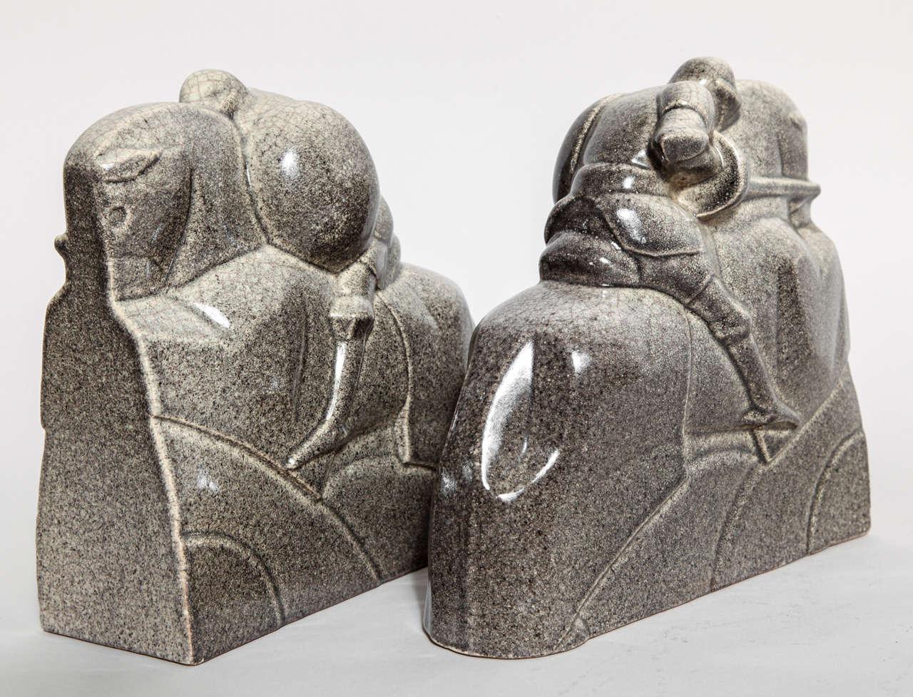 Marcel Guillard French Art Deco Tournoi Ceramic Bookends For Sale 4