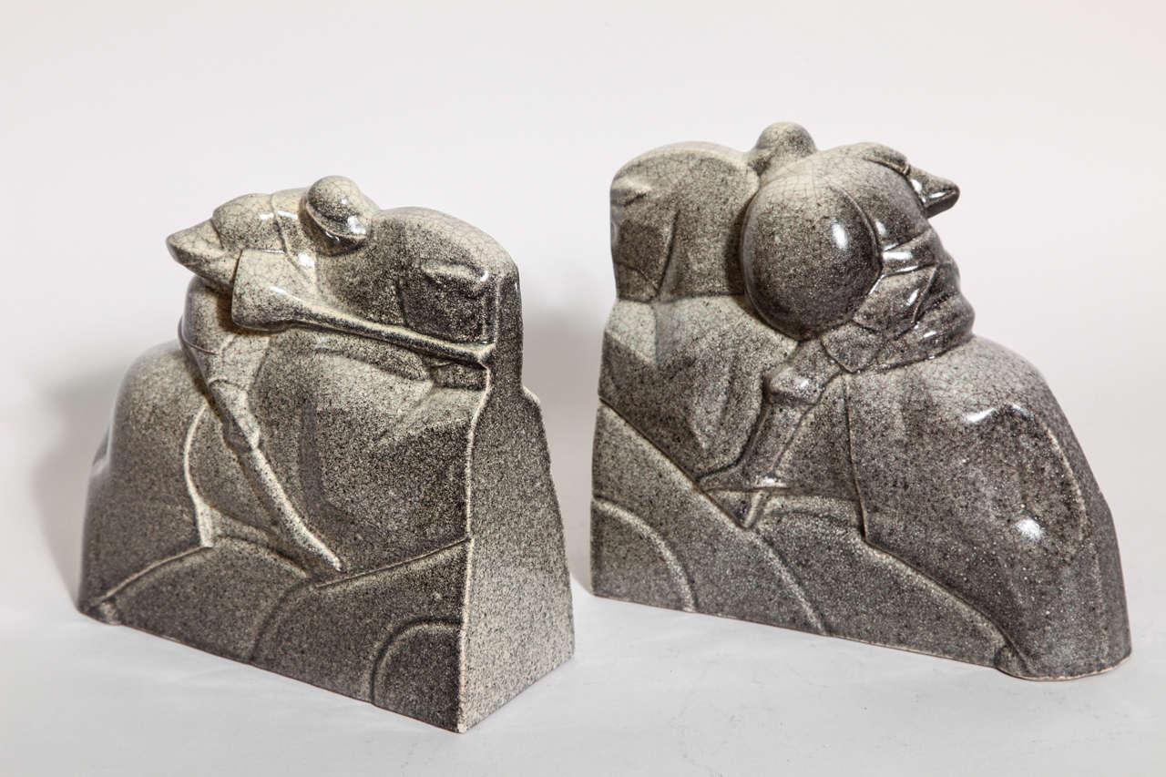 Marcel Guillard French Art Deco Tournoi Ceramic Bookends For Sale 5
