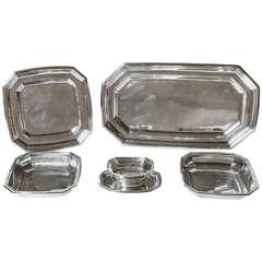 Gustave Keller Frѐres French Art Deco Five-Piece Sterling Silver Serving Set