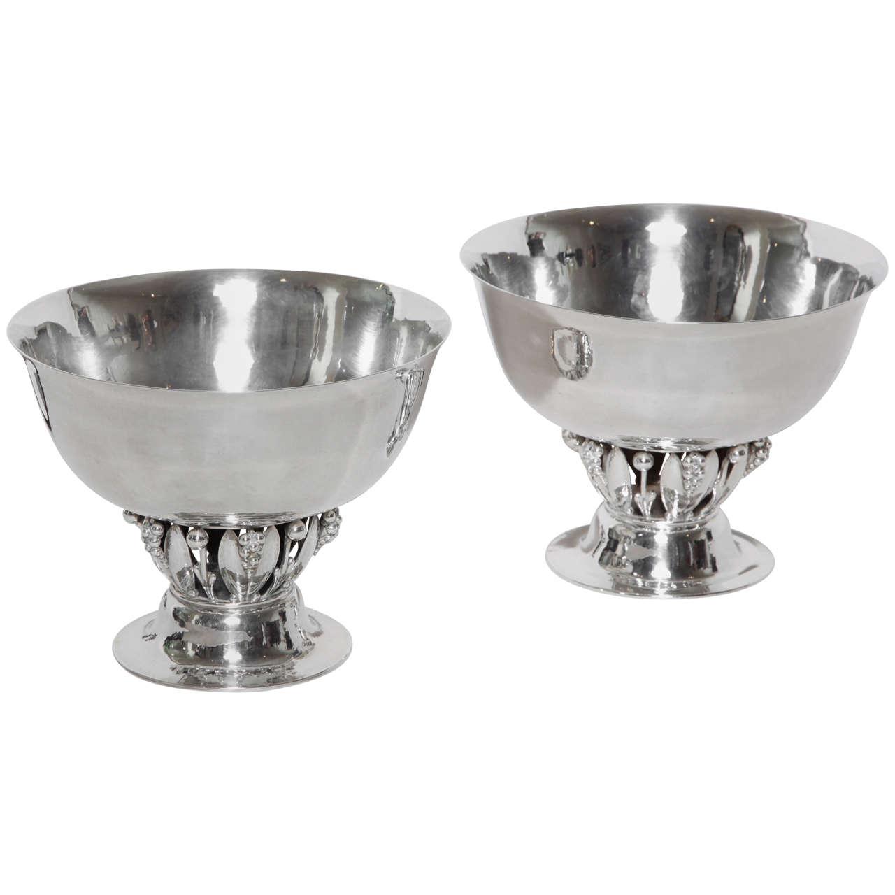 georg jensen danish pair of sterling silver compotes 197. Black Bedroom Furniture Sets. Home Design Ideas