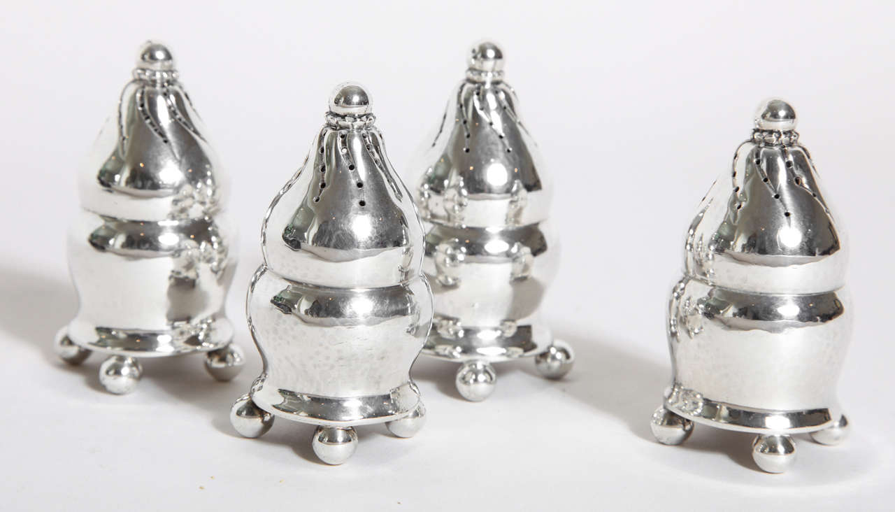 Georg Jensen Danish Set of Four Sterling Silver Casters #410 In Good Condition For Sale In New York, NY