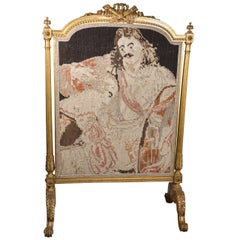 19th C. Giltwood Firescreen with Tapestry Inset