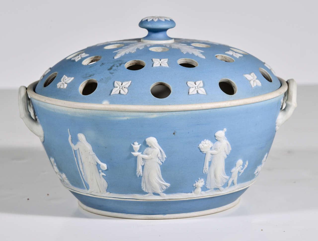 English Wedgwood blue-dip Jasperware stoneware covered potpourri bowl, circa 1900.  Impressed mark