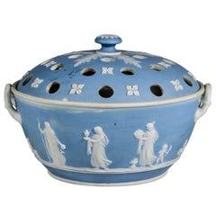 English Wedgwood Blue-dip Jasperware Stoneware Covered Potpourri Bowl