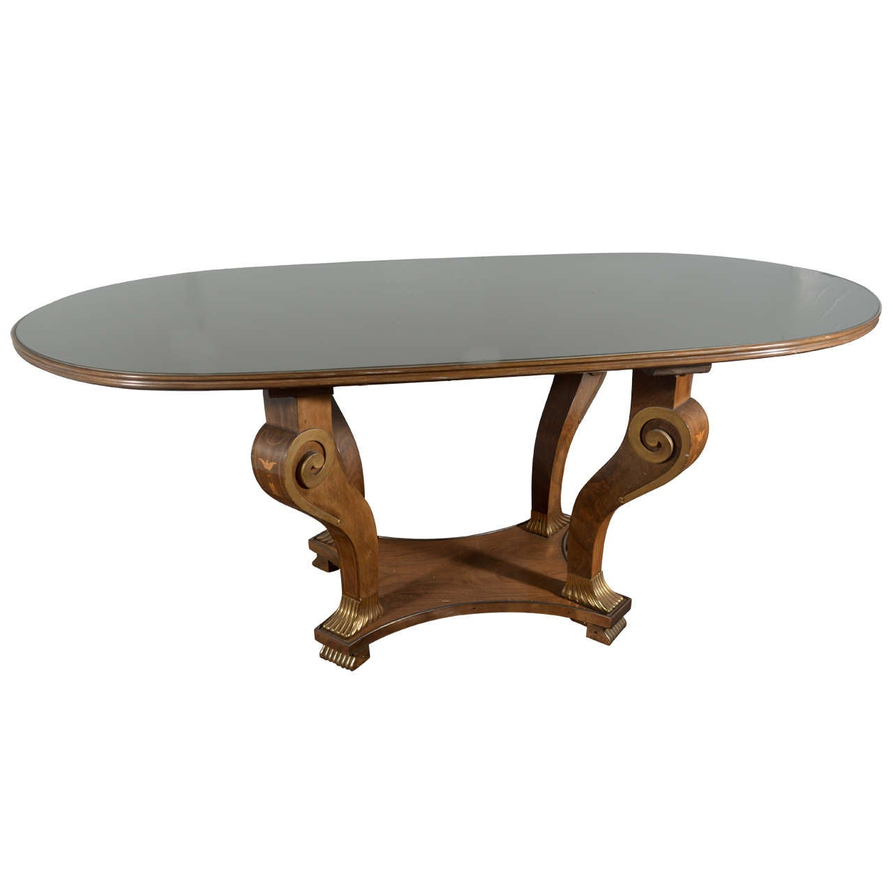 Art deco style dining table with bronze feet at 1stdibs for Styling a dining table