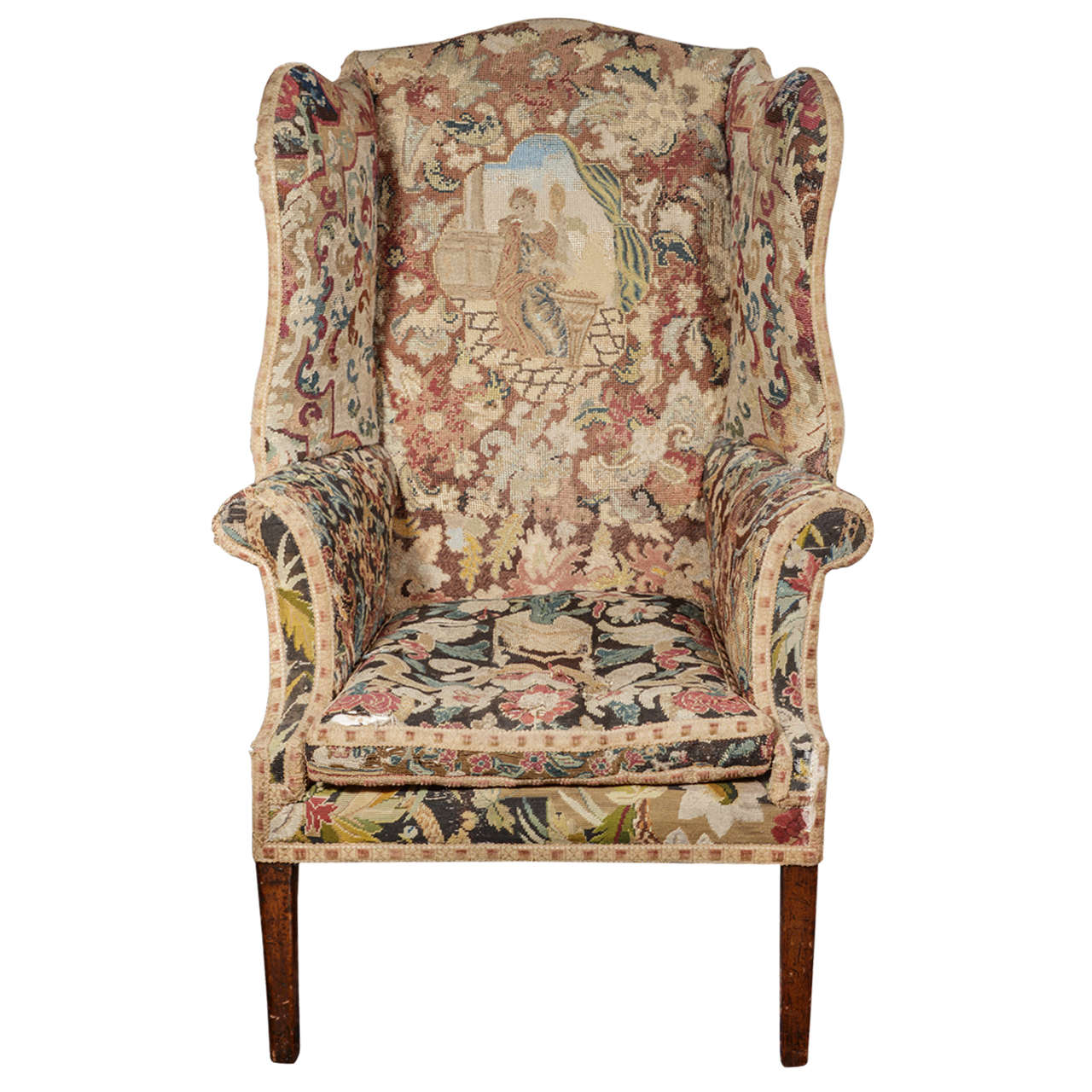 George III Needlework Upholstered Wingback Armchair
