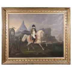 Early 19th Century Oil on Canvas Depicting Napoleon Bonaparte on Horseback
