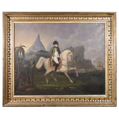 Early 19th Century Oil on Canvas Depicting Napoleon Bonaparte on Horseback