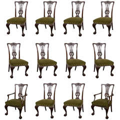 Set of 12 Carved Dining Chairs