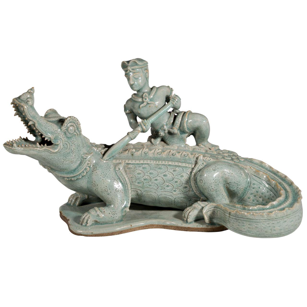 Celadon Sculpture Of A Warrior And Alligator At 1stdibs