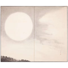 Japanese Two-Panel Screen, Moonlit Sky