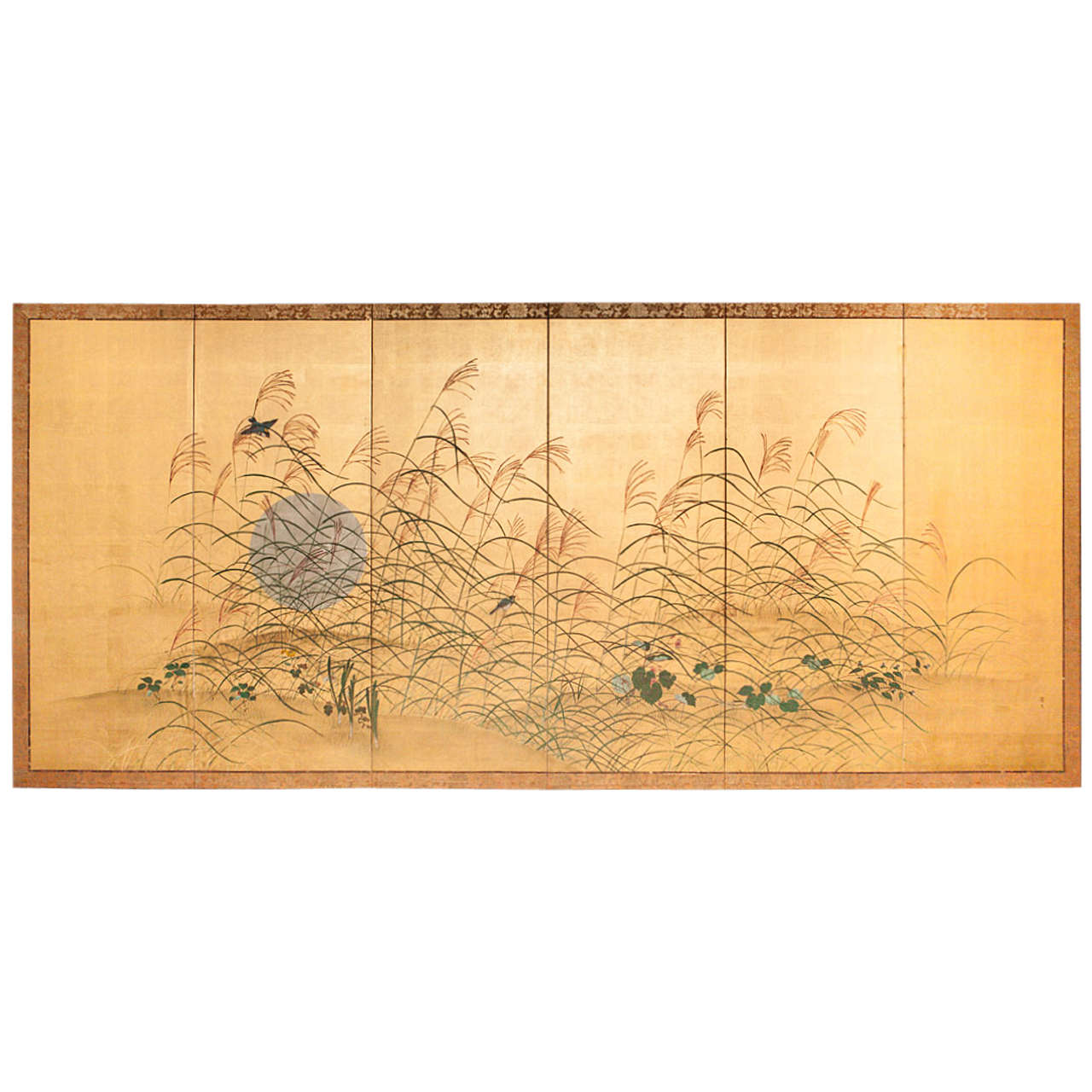 Antique japanese screens for sale - Six Panel Japanese Screen Moon And Wild Grasses On Gold 1