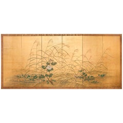 "Japanese Six-Panel Screen ""Wild Grasses and Peonies by Rivers Edge"""