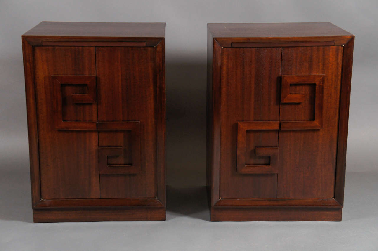 Pair of Dorothy Draper bedside tables.