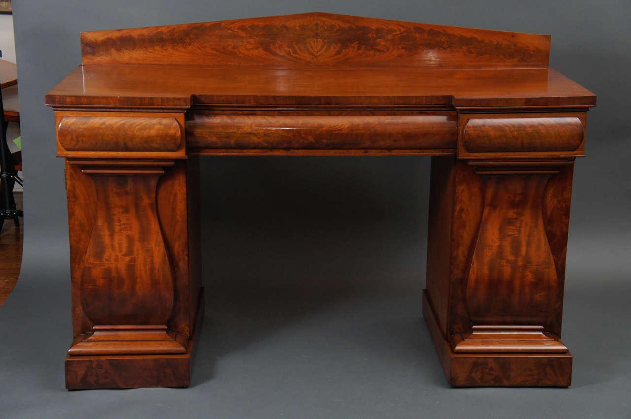 Mahogany William IV English double pedestal sideboard, circa 1820 Height: 48
