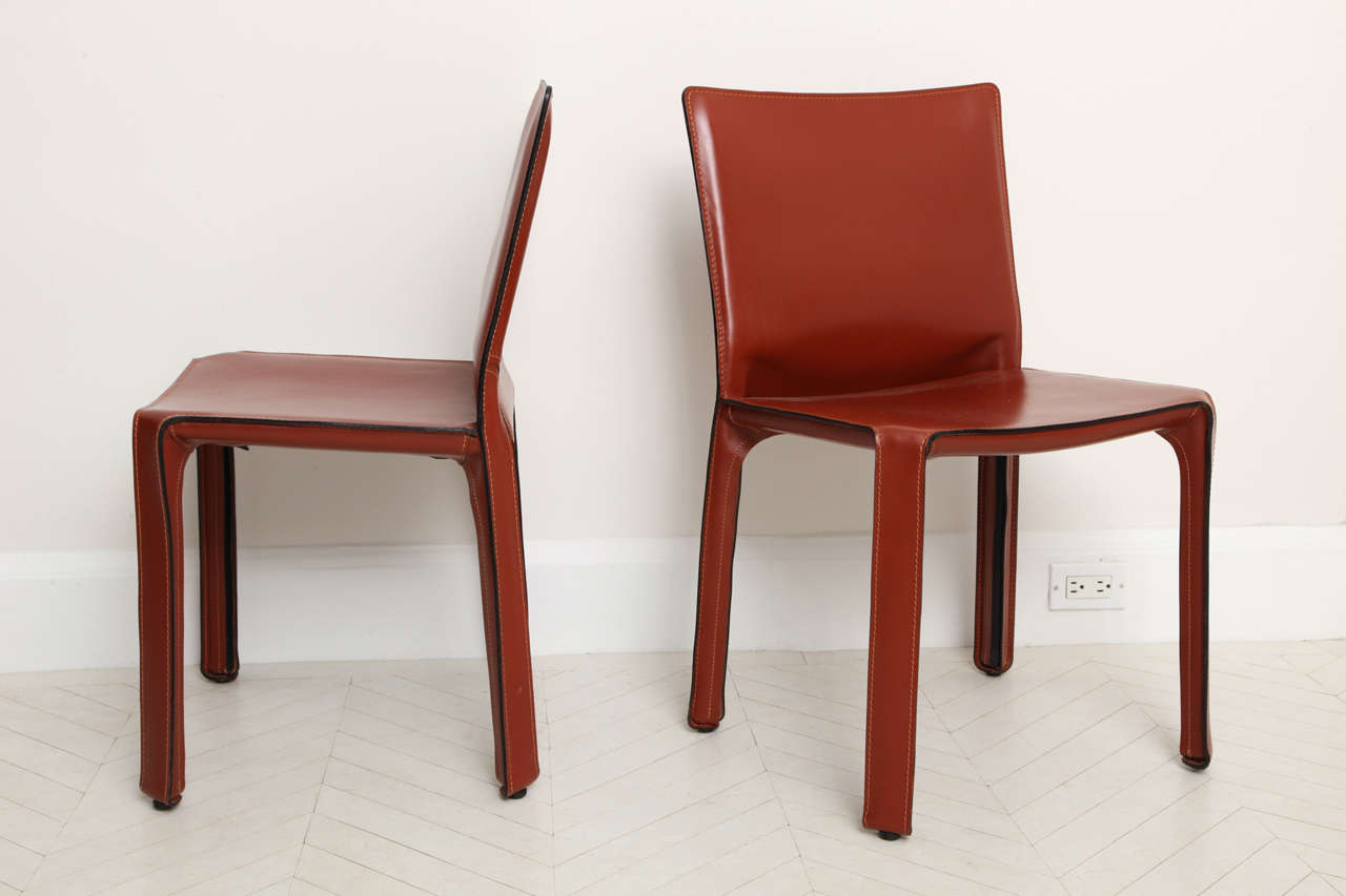 set of eight mario bellini cab  leather side chairs at stdibs - set of eight mario bellini cab  leather side