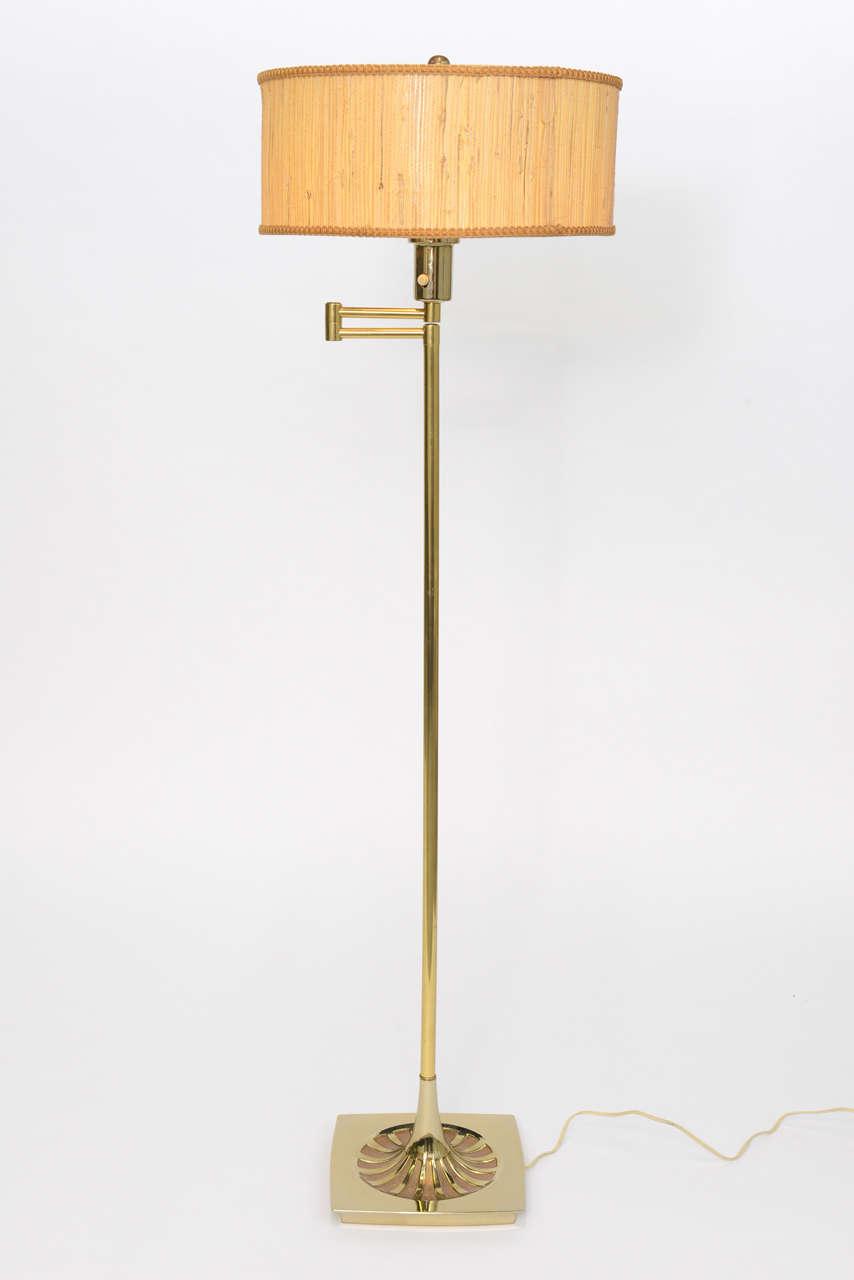 Laurel Brass Nessen Style Floor Lamp In Good Condition For Sale In Miami, FL