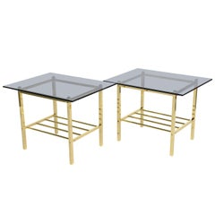 Fine Pair of Solid Brass and Smoked Glass European Side Tables