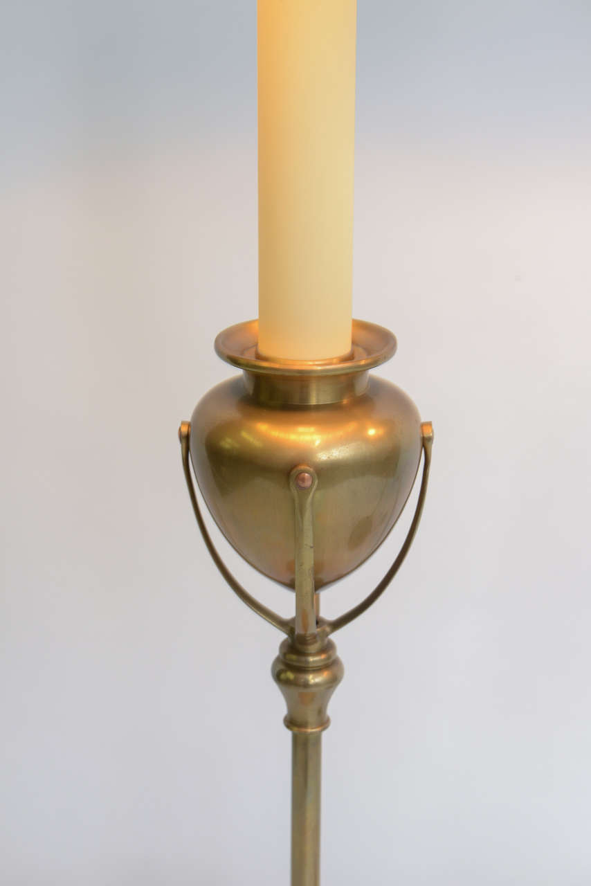 Tiffany Style Large Chapman Brass Candlestick Table Lamps 3