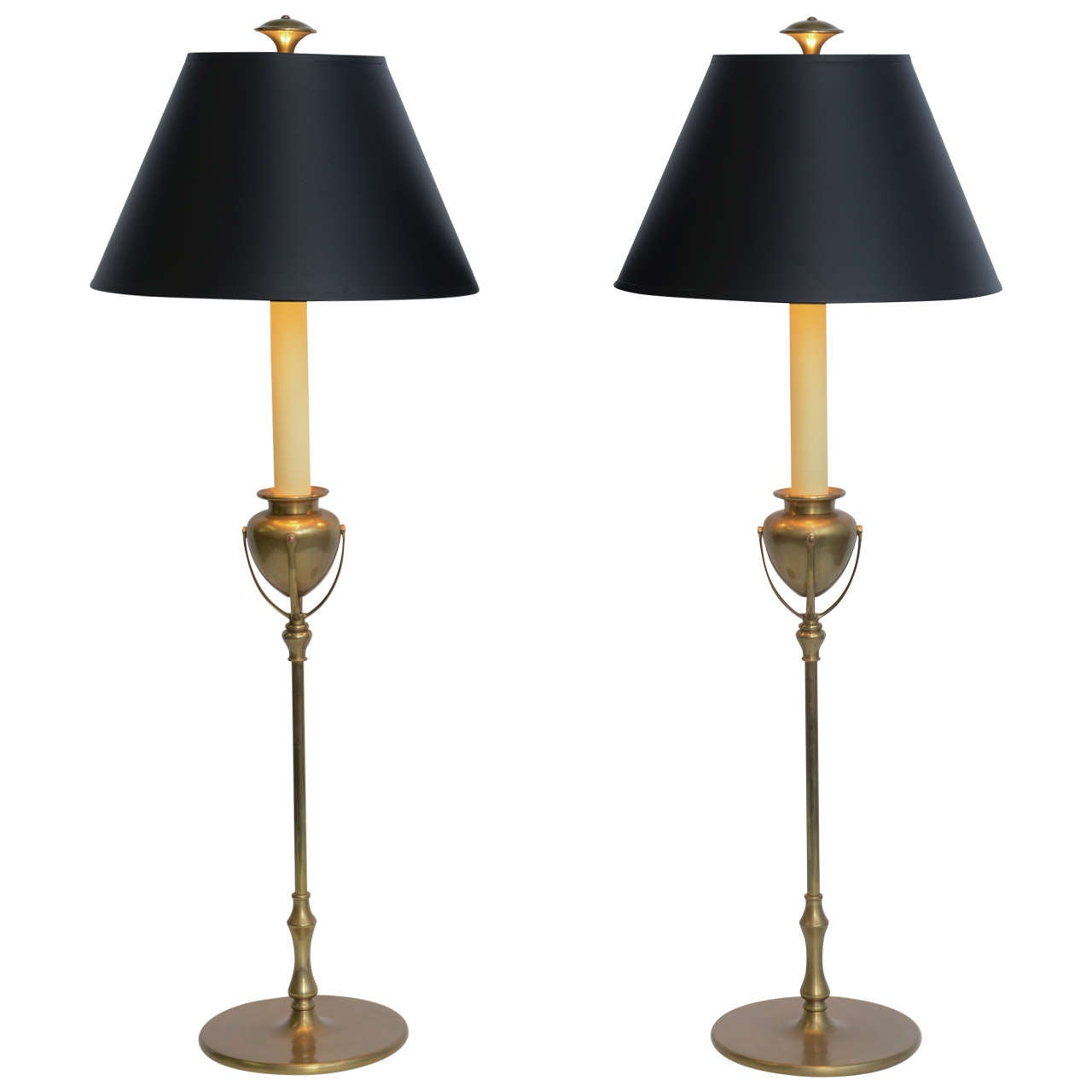 Tiffany Style Large Chapman Brass Candlestick Table Lamps