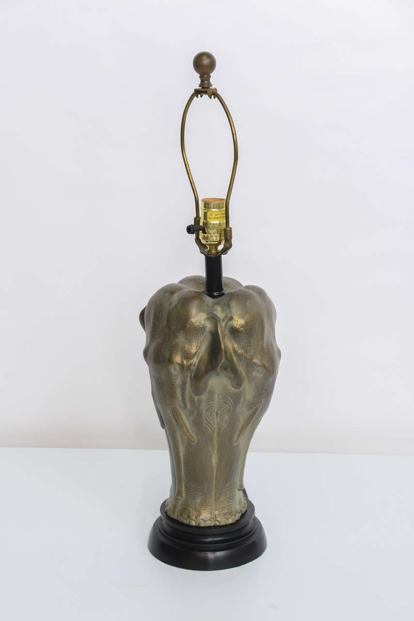 Chapman sculptural bronze elephant table lamp at 1stdibs for Table lamp elephant base