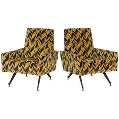 Original Pair of Chic Lounge Chairs by Osvaldo Borsani